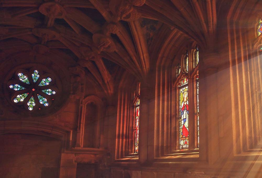 Large stained glass windows of church
