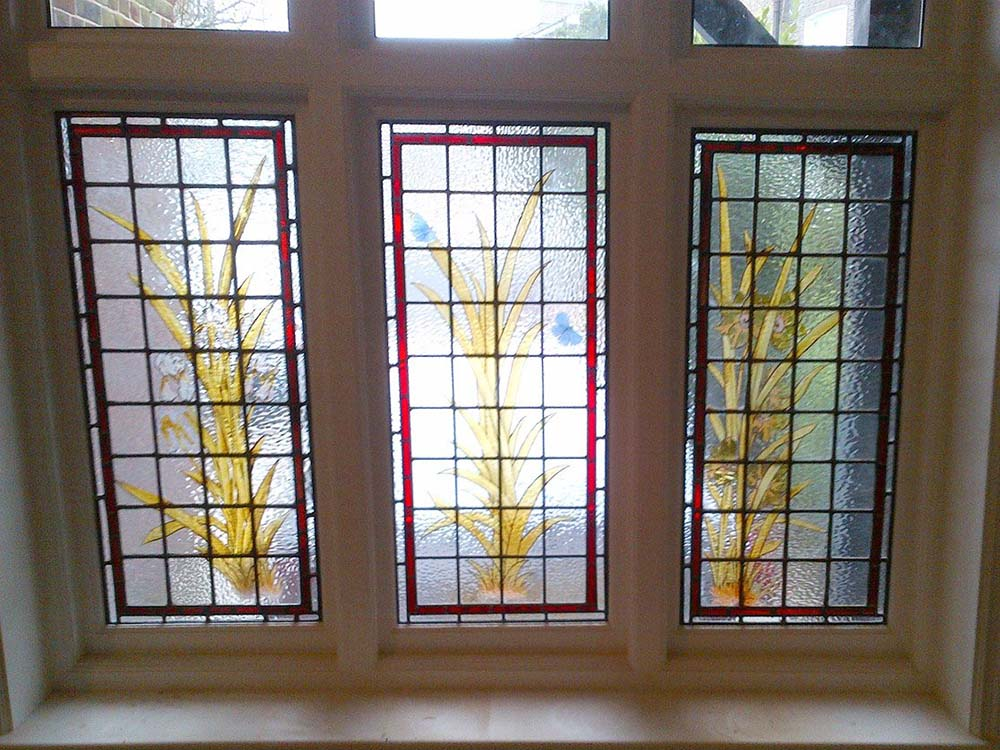 Flowers stained glass window