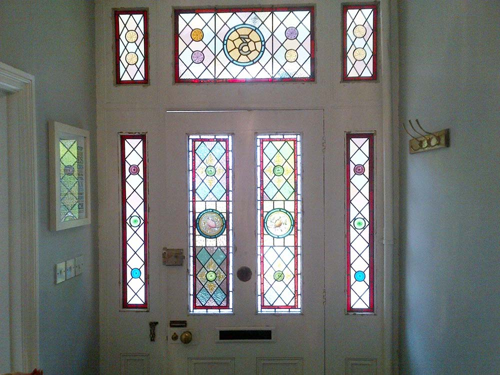 Front door of home stained glass window