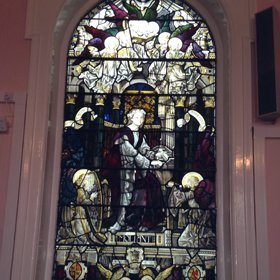 Detailed stained glass window of church